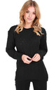 Sally Long Sleeve Knitted Jumper in Black by Oops Fashion