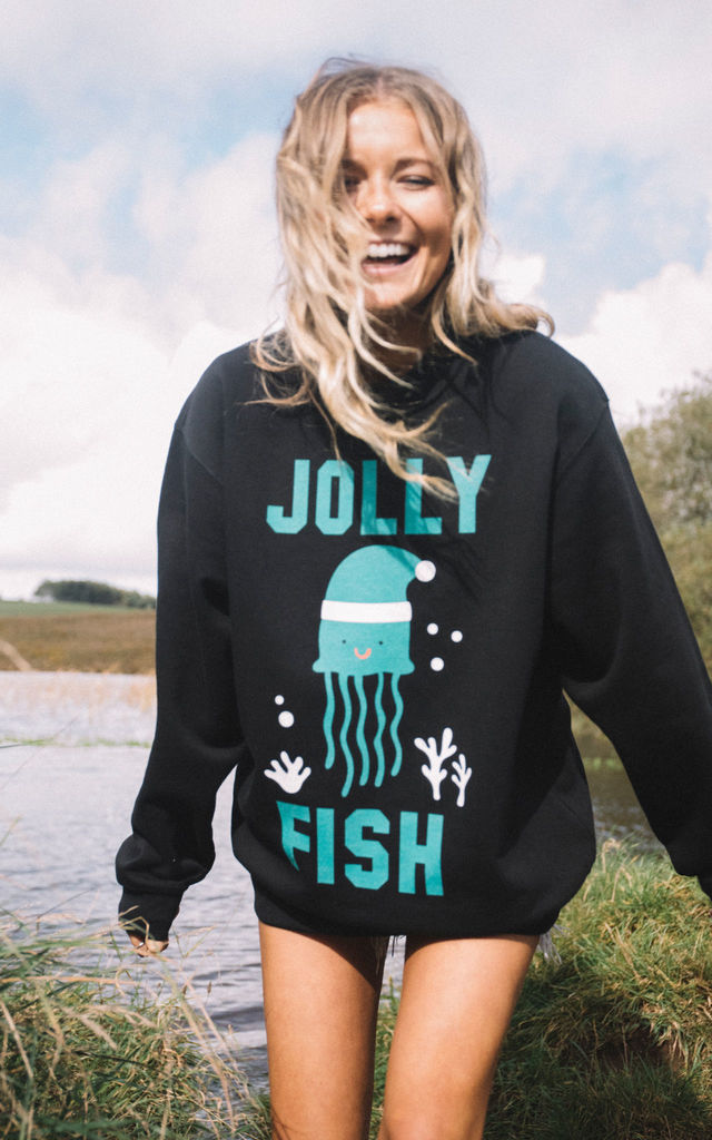 Black Christmas Sweatshirt with Jolly Fish Print by Batch1