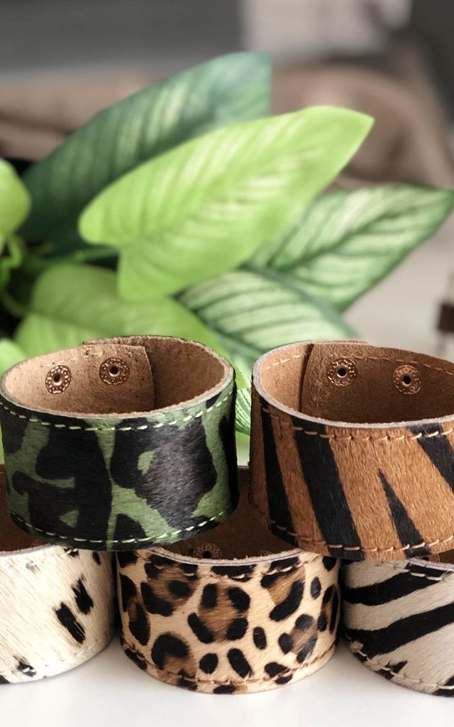 Leather Pony Hair Cuff in Cow Print by hydestyle london