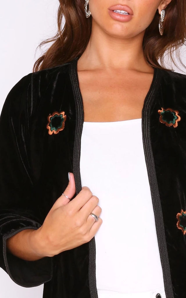 Roumaisa Velour Embroidered Jacket in Black by Diamantine