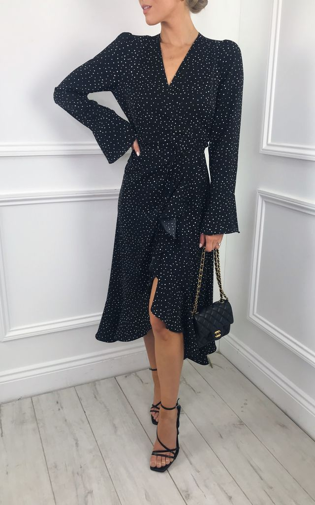 EXCLUSIVE Valery Wrap Midi Dress in Polka Dot by Pretty Lavish