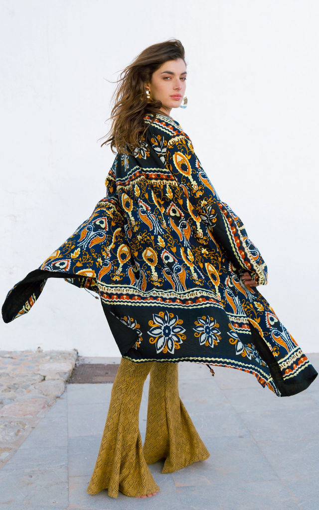 Long multi print cotton kimono in Black by Out of the Ordinary