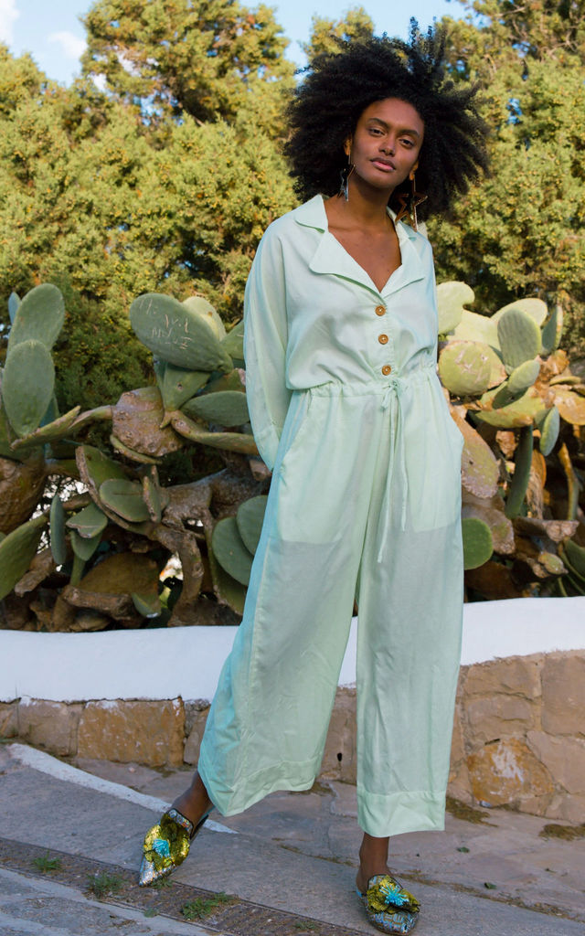Jumpsuit in Mint Green Cotton by Out of the Ordinary
