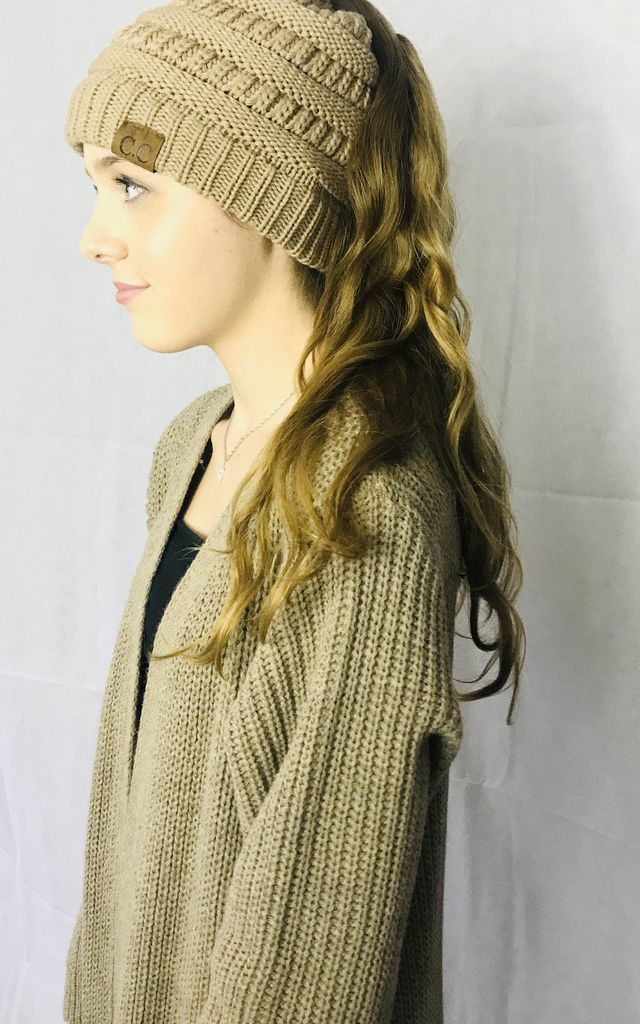 Ponytail Beanie Hat in Mocha Brown by Pink Lemonade Boutique
