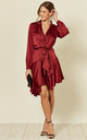 Silky Burgundy Wrap Dress by Another Look