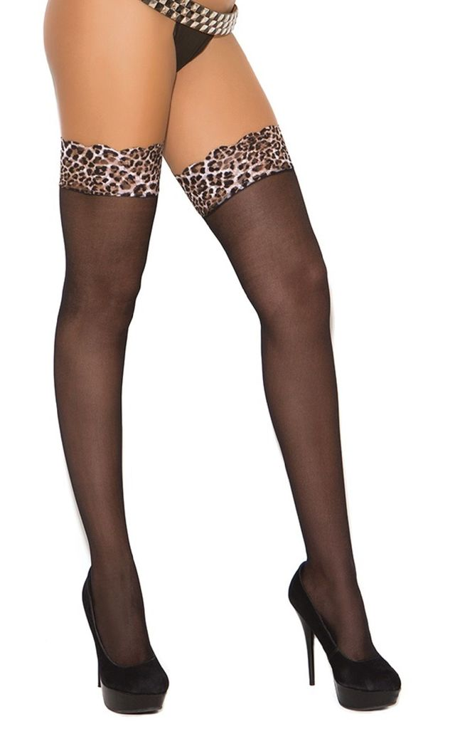 Thigh High Hold Up Stockings in Black/Leopard Print by BB Lingerie