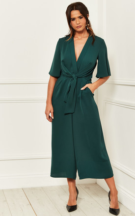 Kimono Knot Top Culotte Jumpsuit In Green by Bella and Blue Product photo