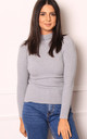 Ribbed Knit Roll Neck Jumper in Light Grey by One Nation Clothing