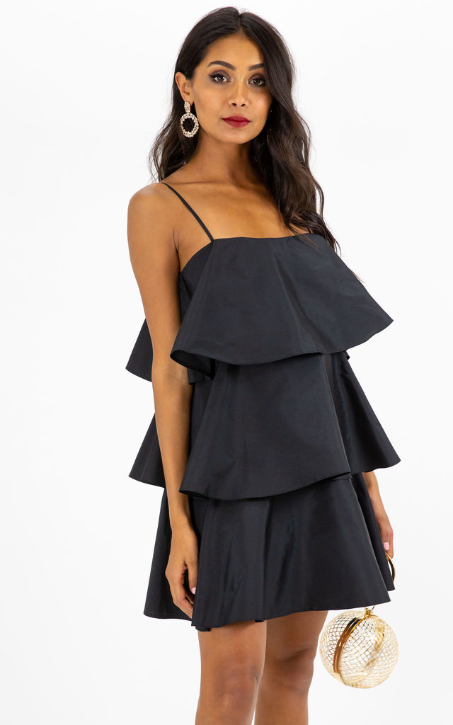 Dixie Strappy Tiered Mini Dress in Black by Style Cheat