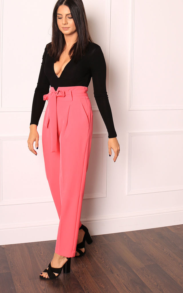 Hot Pink High Waisted Tapered Trousers with Tie Belt by One Nation Clothing