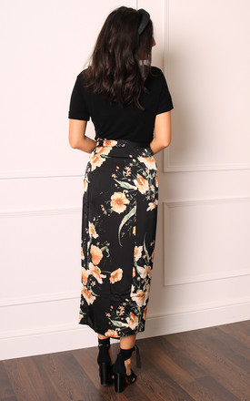 Satin Wrap Maxi Skirt in Black Oriental Floral Print by One Nation Clothing