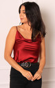 Satin Cowl Neck Cami Top in Burgundy Red by One Nation Clothing