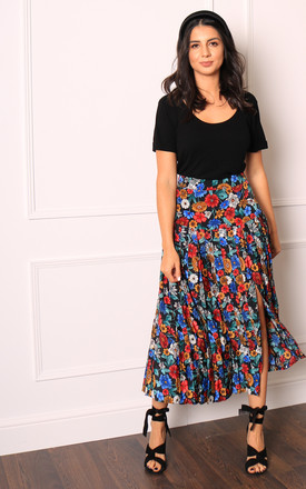 Pleated High Waisted Midi Skirt in Vintage Floral Print by One Nation Clothing
