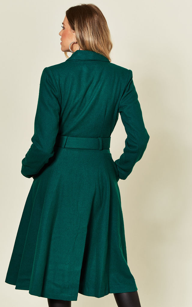 Dawn Swing Green Coat With Belt by Collectif Clothing