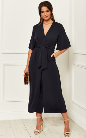 Kimono Knot Top Culotte Jumpsuit In Navy by Bella and Blue Product photo