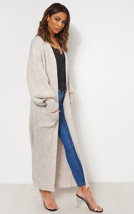 Oatmeal Long Oversized Cardigan by The Fashion Bible Product photo
