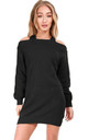 Cold Shoulder Knitted Jumper Dress in Black by Oops Fashion