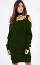 Cold Shoulder Knitted Jumper Dress in Khaki by Oops Fashion
