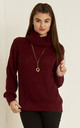 Roll Neck Knitted Jumper In Wine Red by Oops Fashion