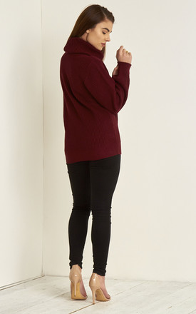Emily Roll Neck Knitted Jumper In Wine Red by Oops Fashion