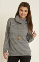 Roll Neck Knitted Jumper In Grey by Oops Fashion