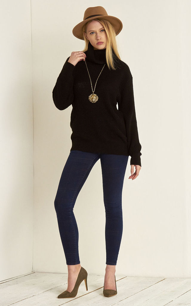 Roll Neck Knitted Jumper In Black by Oops Fashion