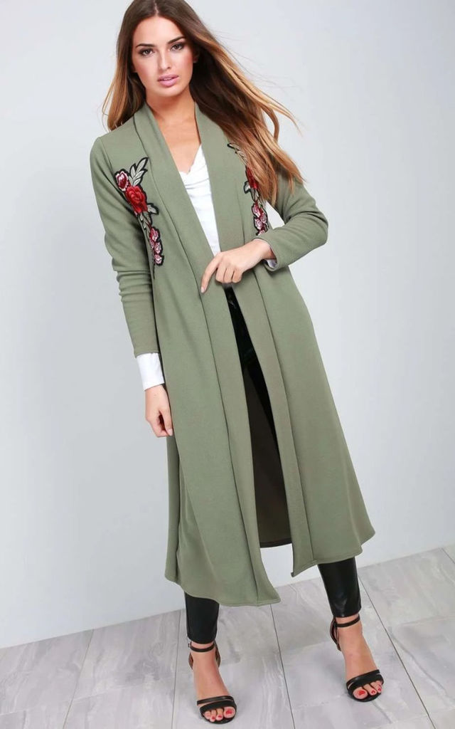 Long Khaki Jacket with Floral Embroidery by Oops Fashion