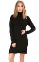 Roll Neck Knitted Jumper Dress In Black by Oops Fashion