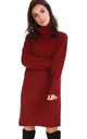 Roll Neck Knitted Jumper Dress In Red by Oops Fashion