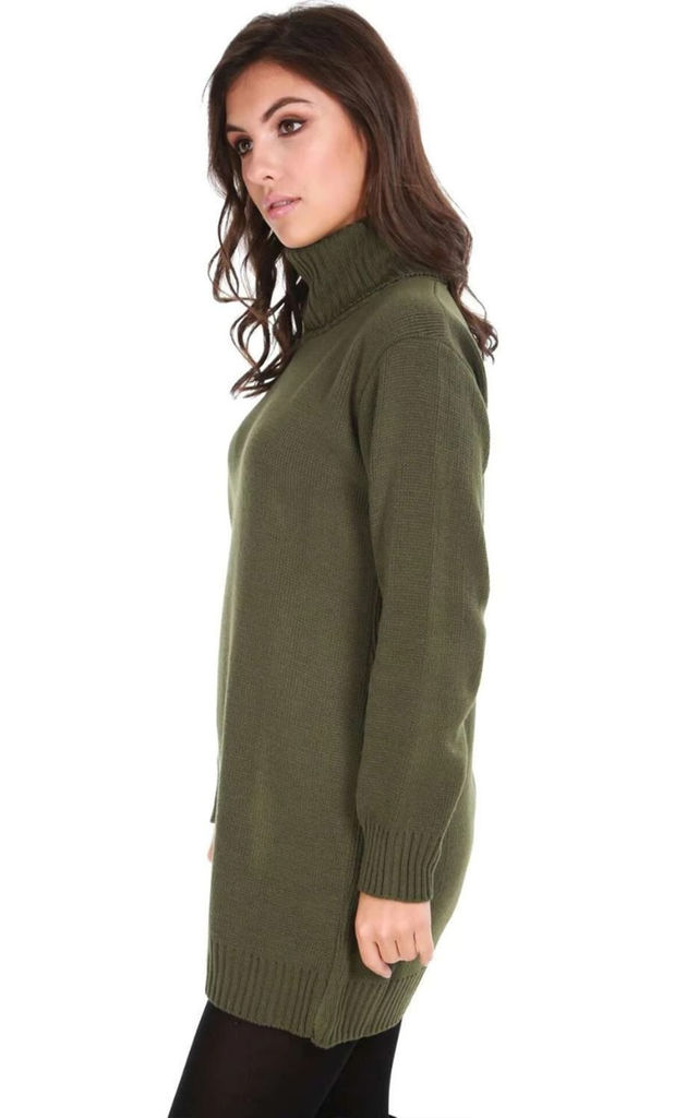 Roll Neck Knitted Jumper Dress In Khaki by Oops Fashion