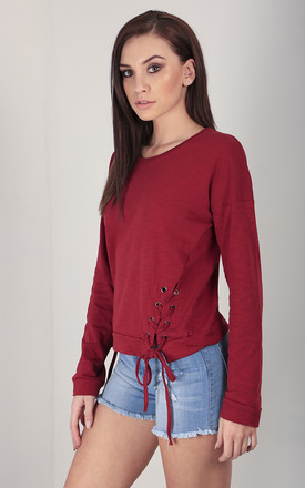 Red Sweatshirt with Lace Up Sides by Oops Fashion