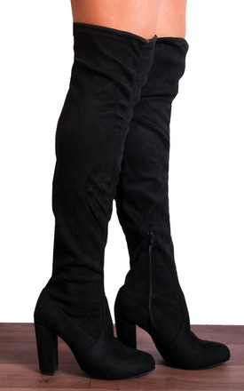 Black Over The Knee High Heel Boots by Shoe Closet