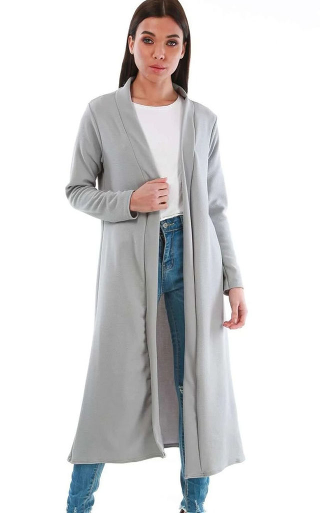 Long Open Front Jacket In Grey by Oops Fashion