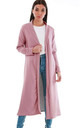 Long Open Front Jacket In Rose Pink by Oops Fashion