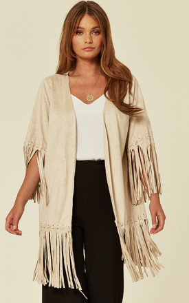MOCK SUEDE JACKET WITH FRINGING IN STONE by Malissa J Collection