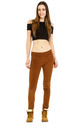 Slim Fit Stretch Trousers in Brown Velour Cord by Glamour Outfitters