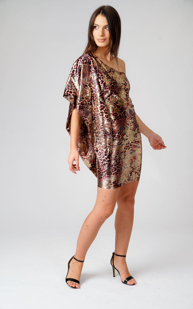 One Shoulder Mini Dress in Animal Print by Just For Moi Boutique