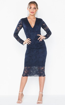 Leanna Navy Lace Midi Dress With Long Sleeves by Honor Gold Product photo