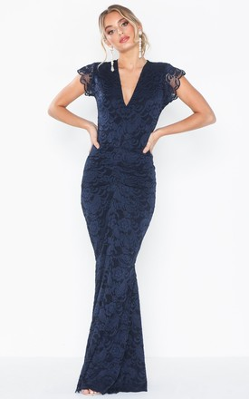 Leanna Navy Lace Maxi Dress With Fishtail by Honor Gold Product photo