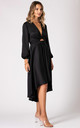 Black Dip Hem Wrap Front Dress with Long Sleeves by URBAN TOUCH