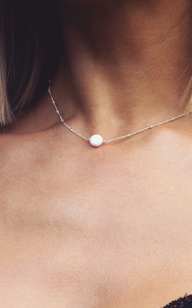 LENA. White Opal Sterling Silver Necklace by Aluna Mae