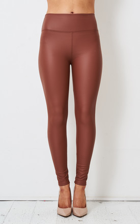 Kayla High Waisted Leggings in Tan Faux Leather by love frontrow