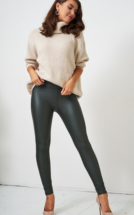 Kayla High Waisted Leggings in Khaki Faux Leather by love frontrow