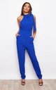 Honey High Neck Tie Detail Jumpsuit Cobalt by Girl In Mind