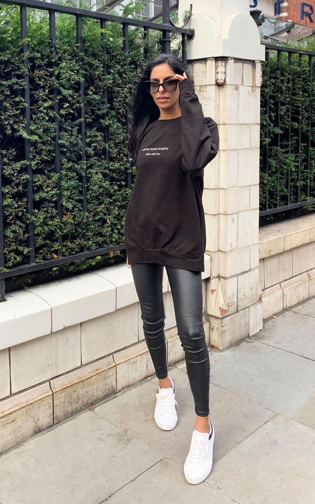 Oversized Black Sweatshirt with Know Your Worth Slogan by Rani & Co.