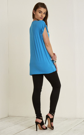Roll Sleeve Oversized Jersey T Shirt Turquoises by Oops Fashion
