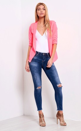 Eli Cropped Sleeve Blazer In Cerise by Oops Fashion