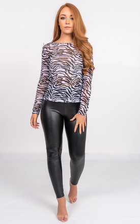 Long Sleeve Sheer Top in Zebra Print by Miss Attire