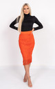 Midi Skirt with Tassels in Orange by Miss Attire