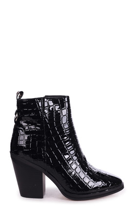 Whizz Black Patent Croc Boot in Block Heeled Cowboy Style by Linzi